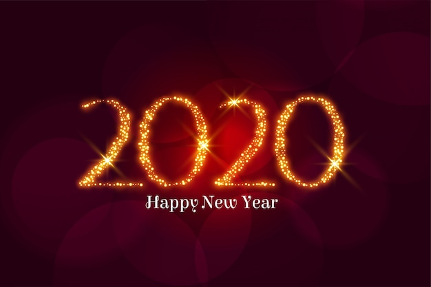 Saudação de feliz ano novo 2020 de brilho dourado