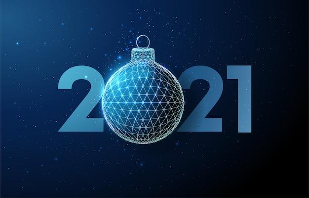 Saudação de feliz ano novo, bola de natal. estilo low poly