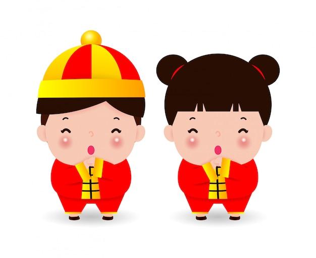Saudação de feliz crianças chinesas, menino e menina em traje chinês, feliz ano novo chinês