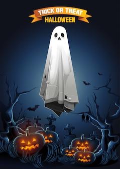 Saudação de feliz dia das bruxas com fantasma flutuando no ar e abóboras à noite.