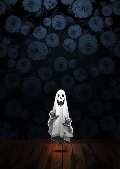 Saudação de feliz dia das bruxas com fantasma flutuando no ar em fundo de flores