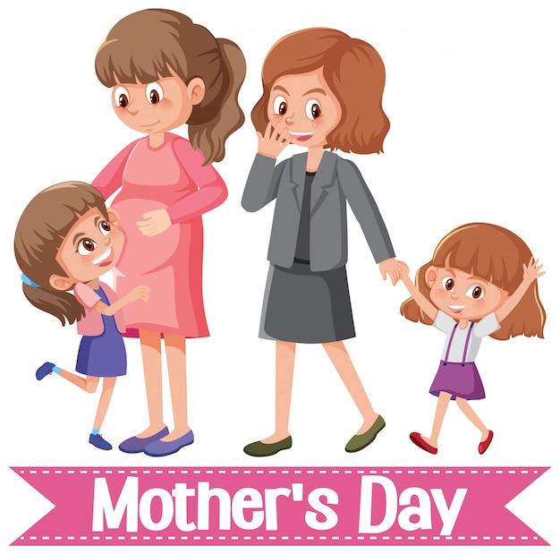 Saudação de feliz dia das mães com mães e filhas