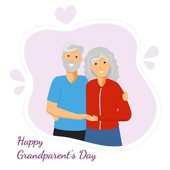 Saudação de feliz dia dos avós com ilustração vetorial sorridente de avô e avó