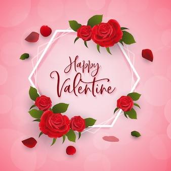 Saudação de feliz dia dos namorados com decoração de rosas