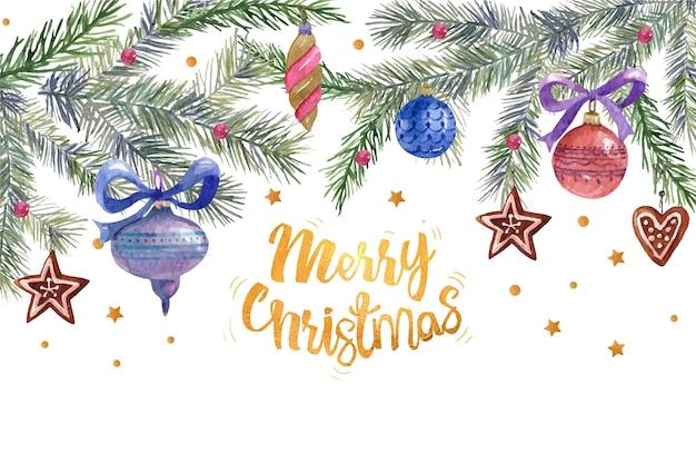 Saudação de feliz natal cercada por decoração de natal
