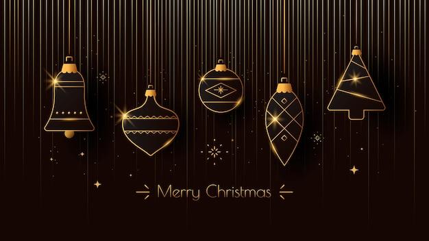 Saudação de feliz natal com decoração de natal dourada estilizada