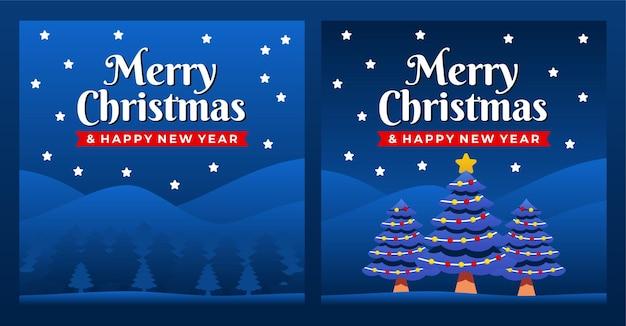 Saudação de feliz natal e feliz ano novo, modelo de design de banner com árvore de natal