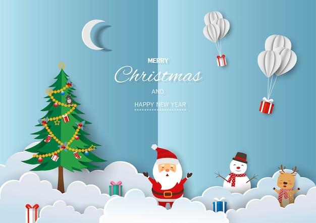 Saudação de feliz natal e feliz ano novo. papai noel com amigos felizes na paisagem de inverno