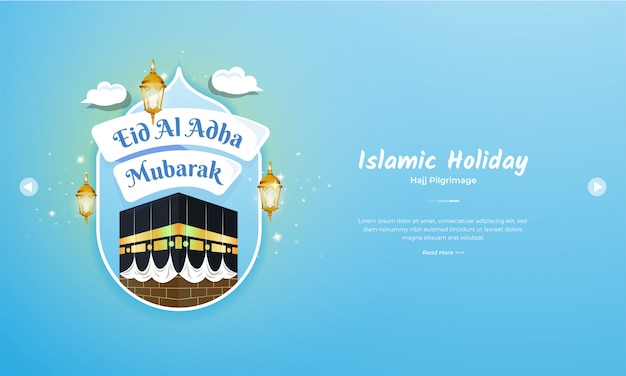 Saudação de feriado islâmico de eid al adha mubarak com conceito de ilustração de kaaba
