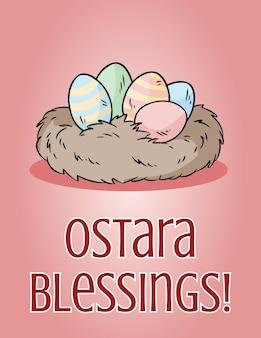 Saudação de feriado pagão de bênçãos de ostara. ovos de páscoa em uma ilustração de ninho.