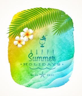 Saudação de férias de verão - banner fundo aquarela com ondas do mar, galhos de árvores de palma e flores de frangipani na praia