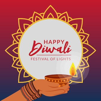 Saudação de festival de diwali criativo