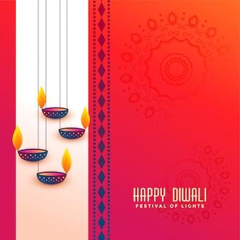 Saudação de festival de diwali indiano com design diya de suspensão