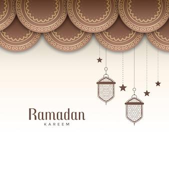 Saudação de festival ramadan kareem decorativo