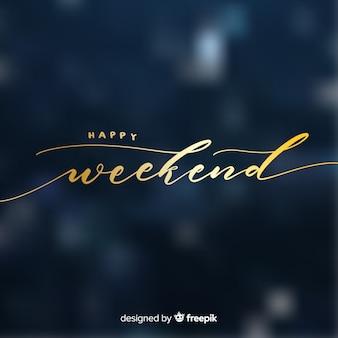 Saudação de fim de semana de texto dourado