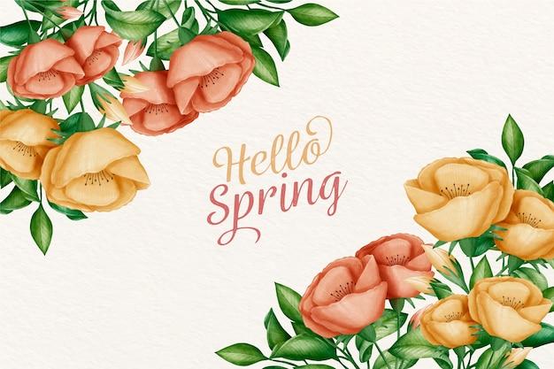 Saudação de fundo primavera aquarela