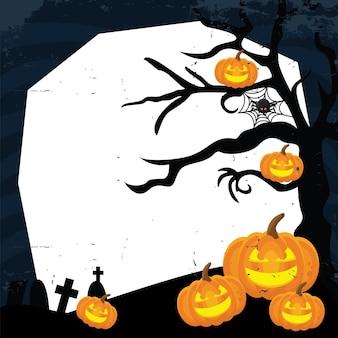 Saudação de halloween com abóboras assustadoras