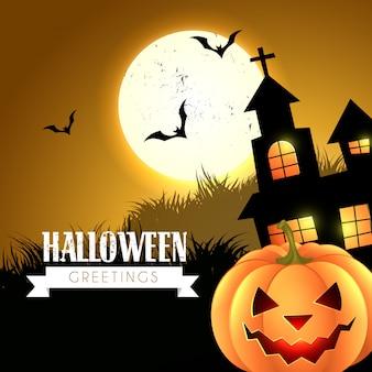 Saudação de halloween com casa assustadora e abóbora