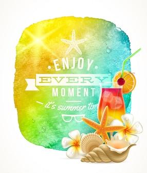 Saudação de horário de verão com as coisas de verão contra um banner de fundo aquarela