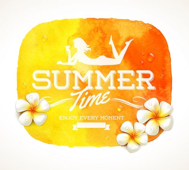 Saudação de horário de verão e flores tropicais de frangipani, ilustração aquarela
