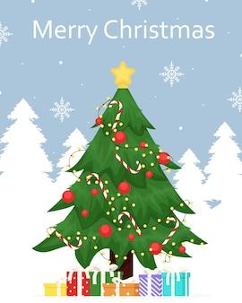 Saudação de inverno para feliz natal decorado