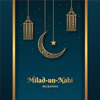 Saudação de mawlid milad-un-nabi com lua e lanternas