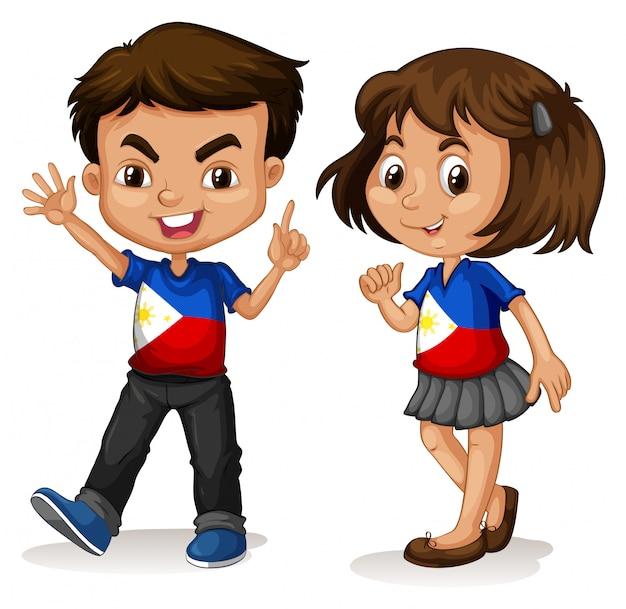 Saudação de menino e menina de filipinas