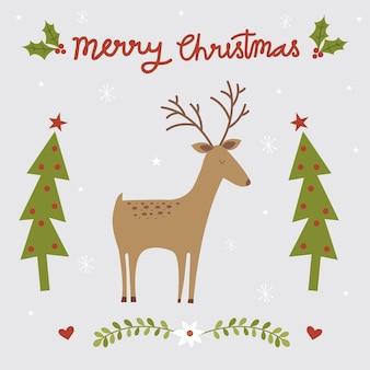 Saudação de natal com design de renas e árvore de natal