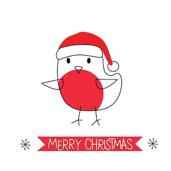 Saudação de natal com doodle robin fofo