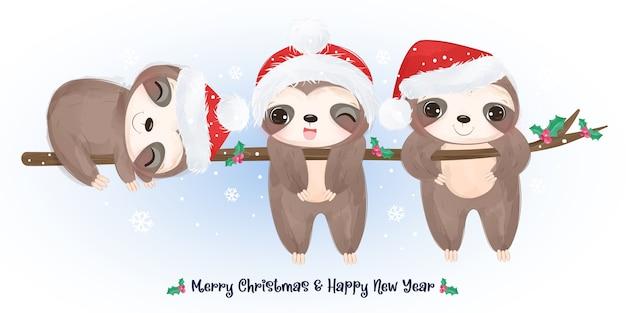 Saudação de natal com giros preguiças brincando juntos.