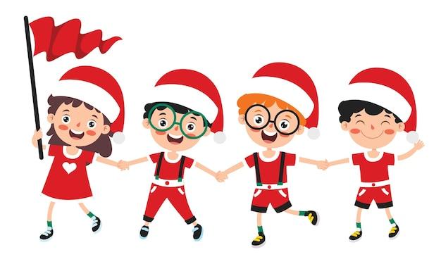 Saudação de natal com personagens de desenhos animados