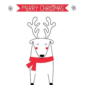 Saudação de natal com uma linda rena doodle