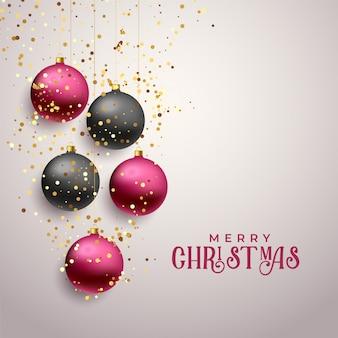 Saudação de natal feliz premium com glitter caindo