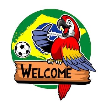 Saudação de pássaro arara com fundo de bandeira do brasil