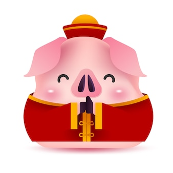 Saudação de porco pequeno em traje chinês.