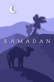 Saudação de ramadã com camelo, cartão islâmico de ramadan kareem. vetor