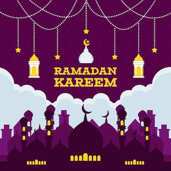 Saudação de ramadan kareem de design plano