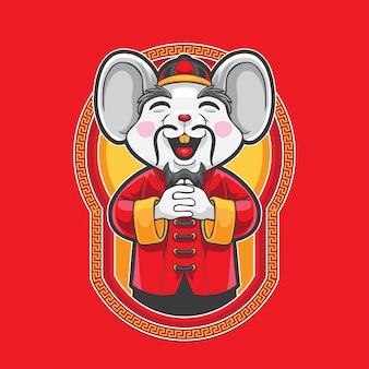 Saudação de rato de gong xi fa cai