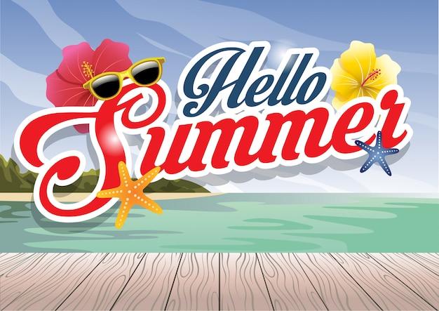 Saudação de temporada de verão helllo