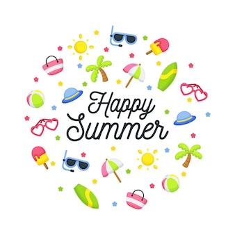 Saudação de verão feliz com composição de elementos
