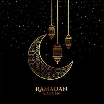Saudação decorativa eid mubarak ou ramadan kareem em preto e dourado