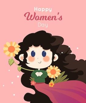 Saudação do dia da mulher com personagem fofa