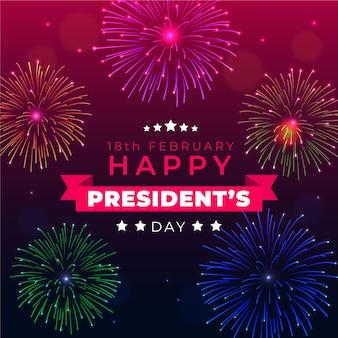 Saudação do dia do presidente de fogos de artifício