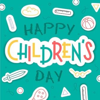 Saudação do dia mundial da criança desenhada à mão