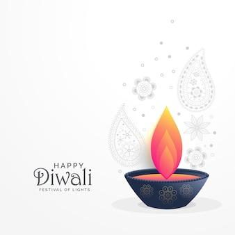 Saudação do festival diwali com design de decoração diya e paisley