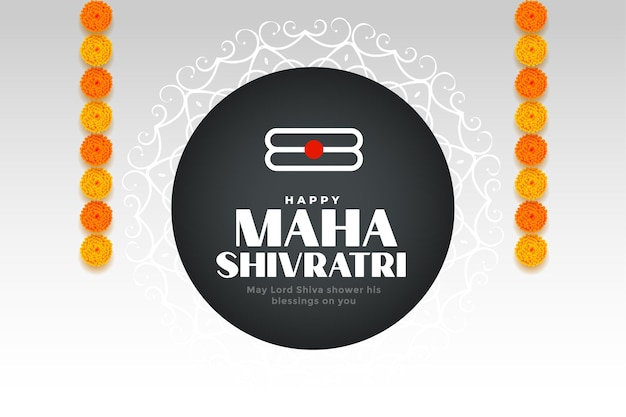 Saudação do festival hindu maha shivratri com decoração de flores de calêndula