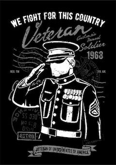 Saudação do veterano, pôster de ilustração vintage.