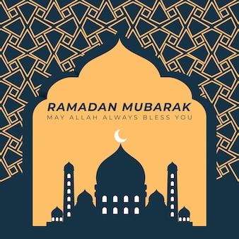 Saudação e desejos islâmicos de ramadan mubarak com ilustração de masjid e forma geométrica dourada