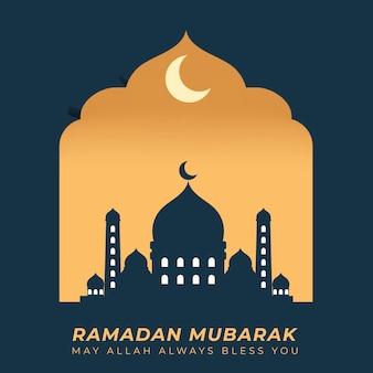 Saudação e desejos islâmicos do ramadã mubarak com ilustração de masjid e parede dourada do pôr do sol e da lua crescente