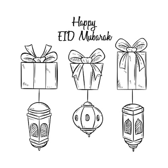 Saudação eid mubarak com caixa de presente e lanterna